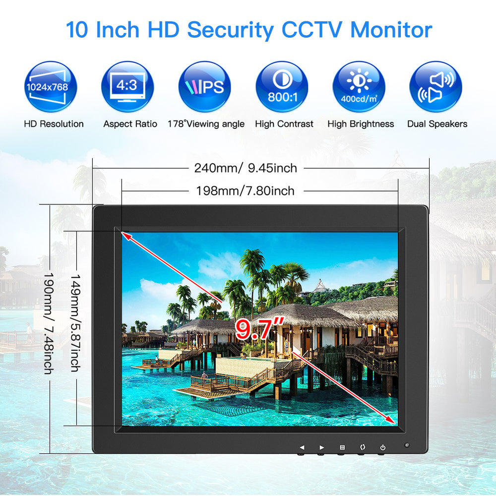 "Eyoyo 10"" Portable Monitor IPS HD 1024x768 4:3 with BNC HDMI VGA AV Input for PC Raspberry Pi"