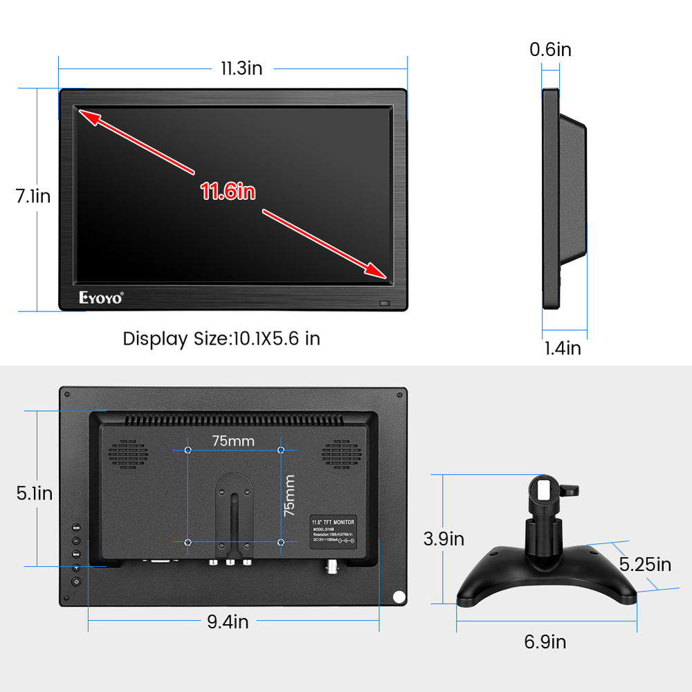 "Eyoyo 12"" Monitor 1366x768 IPS Screen CCTV Security Monitor  Support Raspberry Pi"