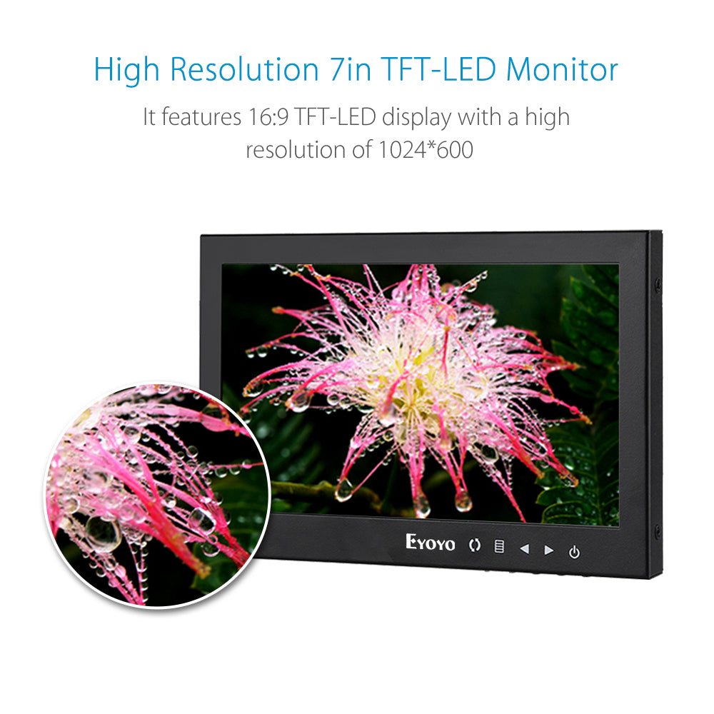 "Eyoyo 7"" LCD Full HD Monitor Portable Display Screen 1024x600"