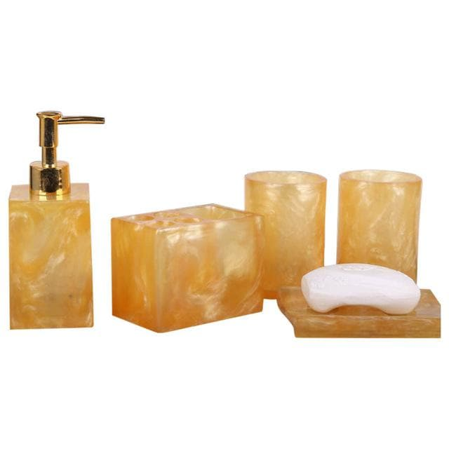 Bright Marble Look Bathroom Set