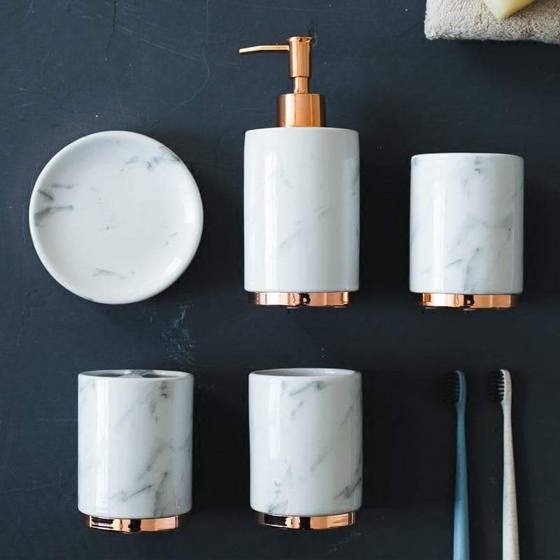 Classic White Marble Look Bathroom Set