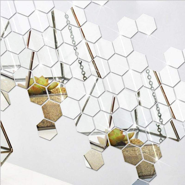 12 Pcs Hexagonal Wall Sticker Mirror