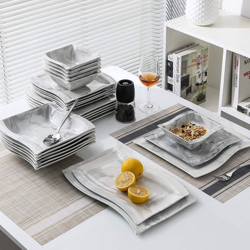 26 piece dishes set marble look