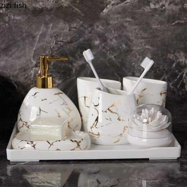Marble Gold Look Bathroom Set