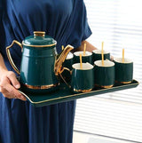 Dark Green - 6 Cups +1 Kettle +1 Tray Tea Cup Set
