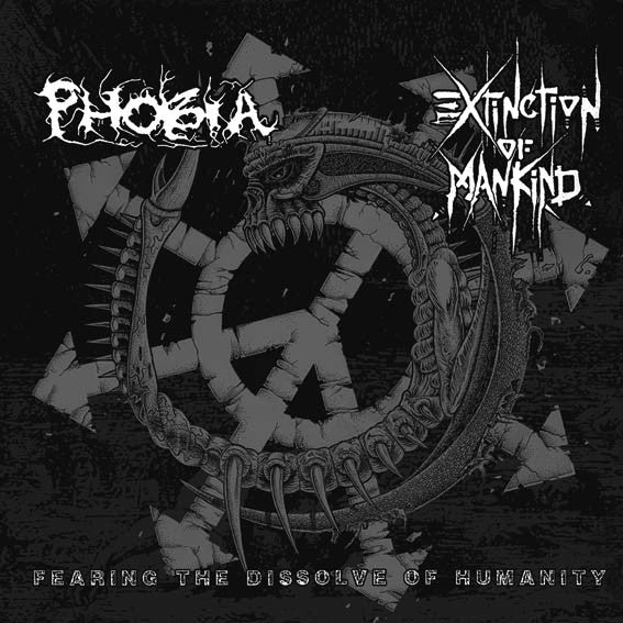 "Phobia / Extinction of Mankind 'Fearing The Dissolve of Humanity' Split 12"" LP Gatefold"