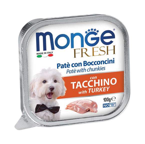 Monge Turkey Pate with Chunkles Tray Dog Food (100g)