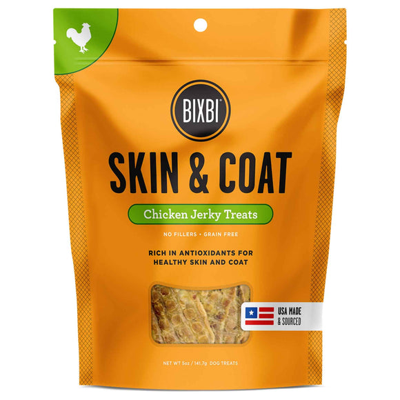 Bixbi Skin & Coat Jerky Grain Free Dehydrated Dog Treats (Chicken) 141.7g