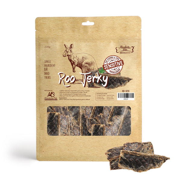 Absolute Bites Air Dried Roo Treats (Roo Jerky) for Dogs (220g)