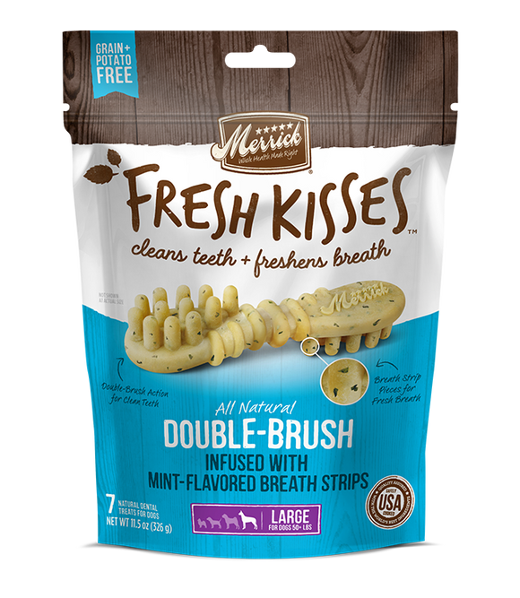 [MR-66043] [30% OFF] Merrick Fresh Kisses infused with Mint-Flavored Breath Strips (Large Dog, 50+lbs) (4pcs/pkt)