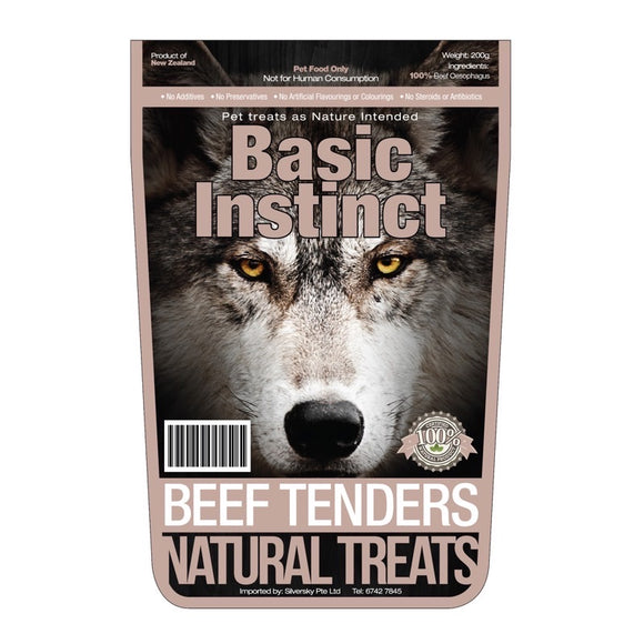 Basic Instinct Beef Tenders Natural Dog Treats (200g)
