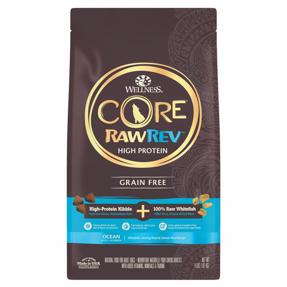Wellness Core Kibble + Freeze Dried RawRev Ocean + 100% Raw Fish Food for Dogs (3 sizes)