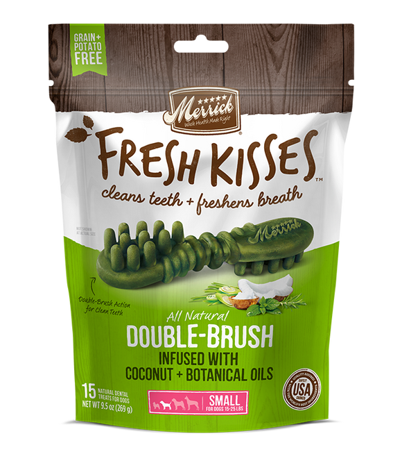 [MR-66021] [30% OFF] Merrick Fresh Kisses infused with Coconut + Botanical Oils Breath Strips (Small Dog, 15-25lbs) (9pcs/pkt)