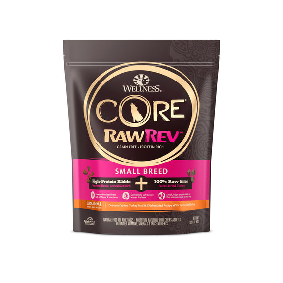 Wellness Core Kibble + Freeze Dried RawRev Small Breed + 100% Raw Turkey Food for Dogs (2 sizes)