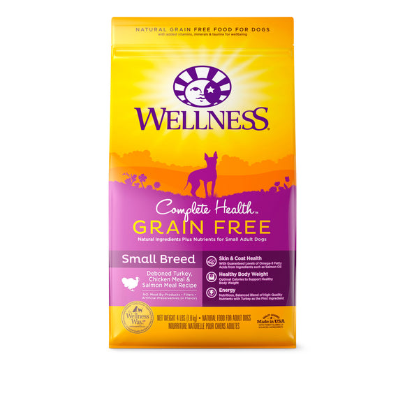 Wellness Complete Health Grain Free for Small Breed (Deboned Turkey, Chicken Meal & Salmon Meal) 2 sizes