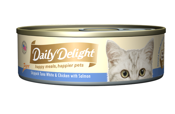 [1carton=24cans] Daily Delight Skipjack Tuna White & Chicken with Salmon (80g)