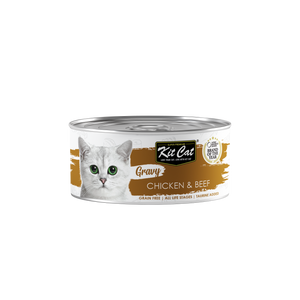 [1carton] Kit Cat Gravy Series Canned Food (Chicken & Beef) 70g x 24cans