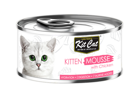 [1carton] Kit Cat Mousse Series Canned Food (Kitten Mousse with Chicken) 80g x 24cans