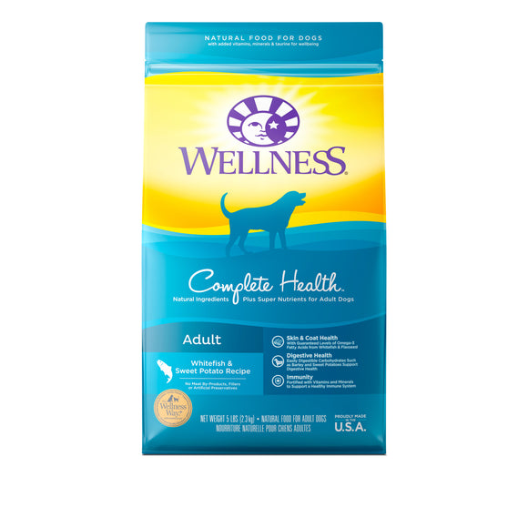 Wellness Complete Health Adult (Whitefish & Sweet Potato) Dry Food for Dogs (2 sizes)