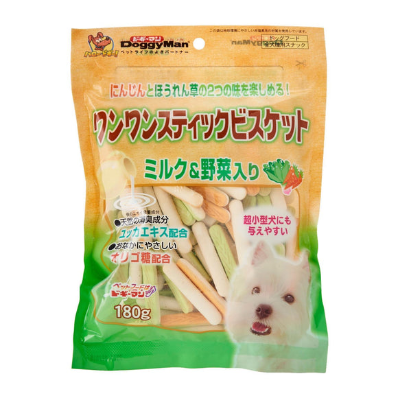 [DM-80711] DoggyMan Bowwow Milk & Vegetable Stick Biscuit for Dogs (180g)