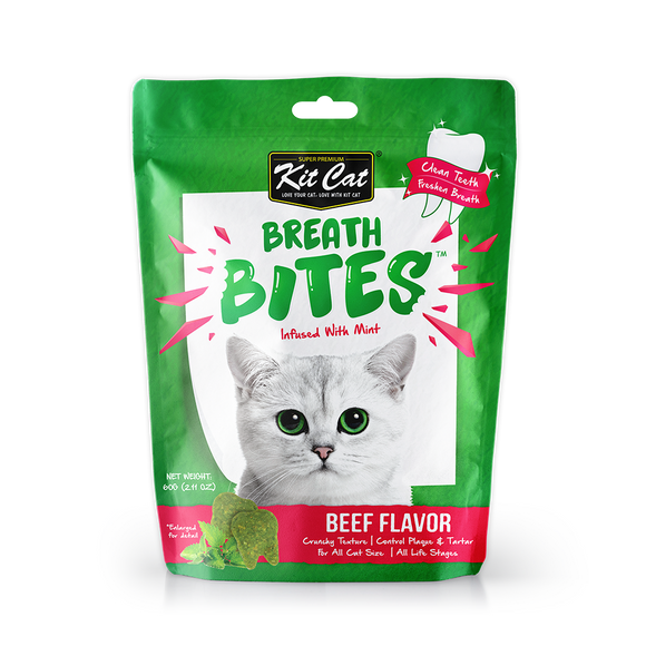 [3 for $8.50] Kit Cat Breath Bites Beef Treats for Cat (60g)