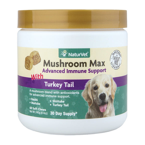 NaturVet Mushroom Max with Turkey Tail Soft Chews (2 sizes)