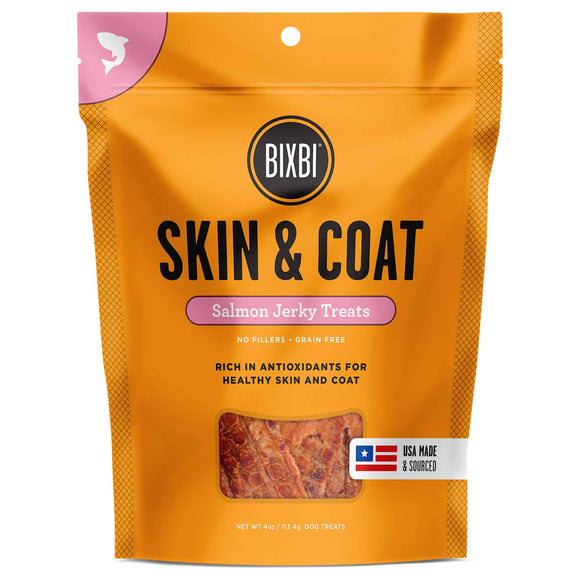 Bixbi Skin & Coat Jerky Grain Free Dehydrated Dog Treats (Salmon) 141.7g