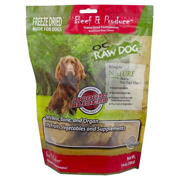 OC Raw Dog Beef & Produce Sliders Freeze-Dried Food for Dogs (14oz)