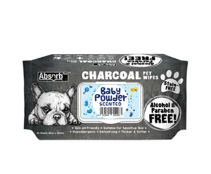 [Bundle of 3] Absorb Plus Charcoal Pet Wipes (Baby Powder)