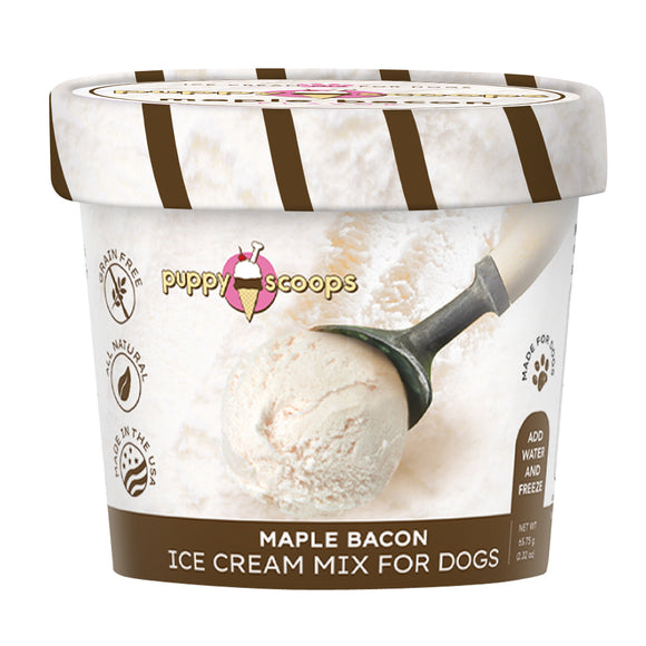 Puppy Scoops Freezerless Ice Cream Mix for Dogs (Maple Bacon) 2 sizes