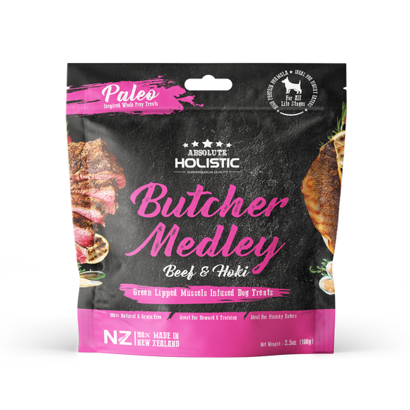 Absolute Holistic Air Dried Treats (Butcher Medley) for Dogs (100g)
