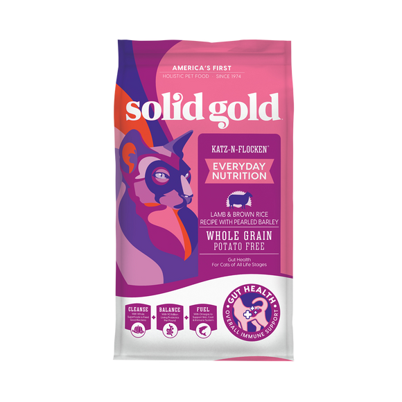 Solid Gold Katz-N-Flocken Lamb & Brown Rice with Pearled Barley Dry Food for Cats (2 sizes)