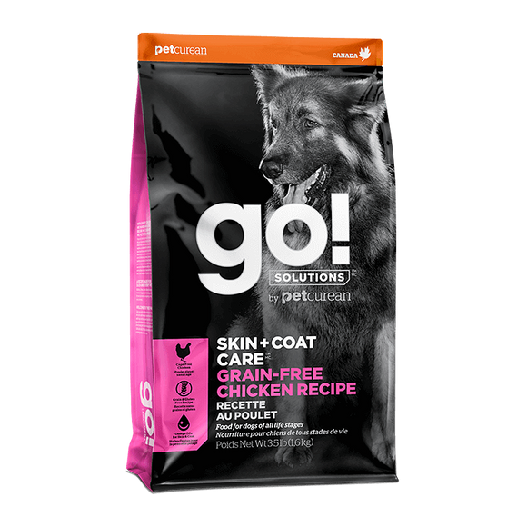 [GO-271] Petcurean Go! Skin + Coat Grain Free Chicken Recipes Dry Food for Dogs (3.5lb)