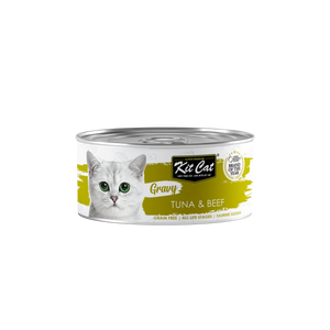 [1carton] Kit Cat Gravy Series Canned Food (Tuna & Beef) 70g x 24cans