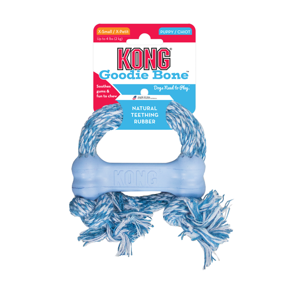 KONG® Puppy Goodie Bone with Rope (2 sizes/2 colors)