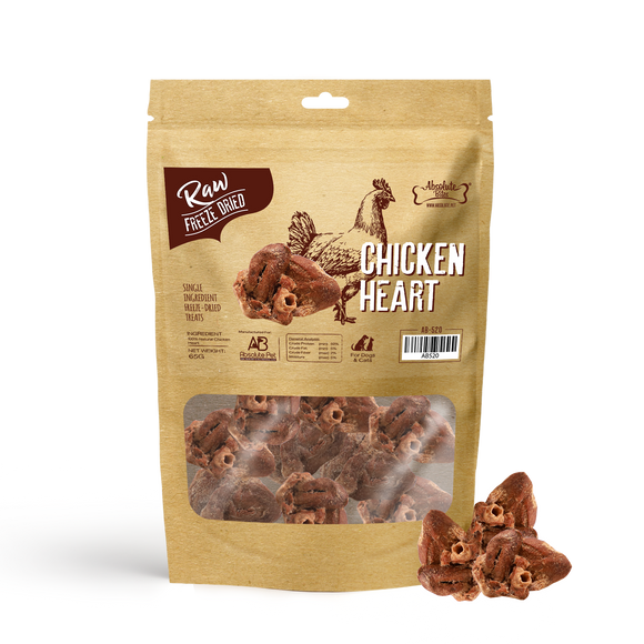 [Buy2Free1] Absolute Bites Raw Freeze-Dried Treats for Dogs & Cats (Chicken Heart) 65g