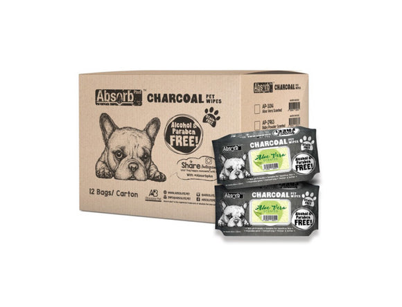 [1carton=12packs] Absorb Plus Charcoal Pet Wipes (Aloe Vera) 80pcs/pack