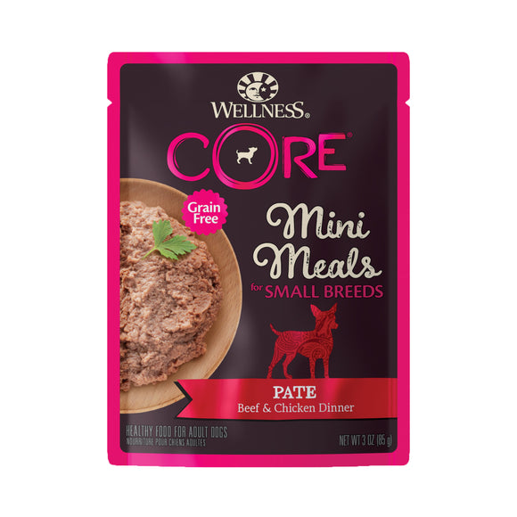 [WN-SBMMBC] [Buy3Free1] Wellness Core Small Breed Grain Free Pâté Beef & Chicken Dinner Mini Meal Wet Food for Dogs (3oz)