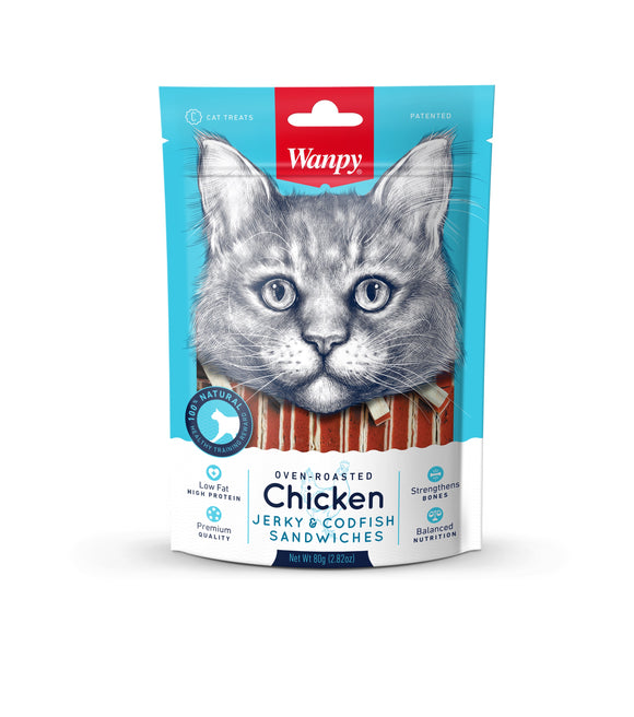 [WP-336] Wanpy Oven Roasted Chicken & Cod Fish Sandwiches Cat Treats (80g)