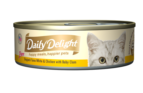 [1carton=24cans] Daily Delight Skipjack Tuna White & Chicken with Baby Clam (80g)