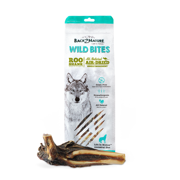 Back2Nature All Natural Air-Dried Wild Bites Treats for Dog (Roo Shank)