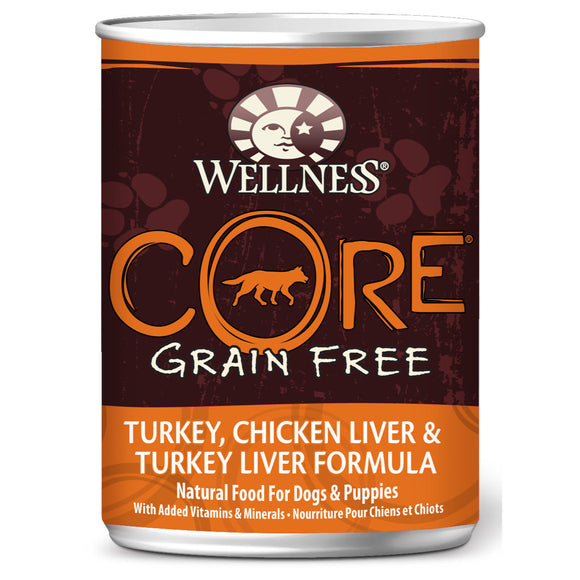 [WN-CanCoreOri] Wellness Core Grain Free Turkey, Chicken Liver & Turkey Liver Canned Dog Food (12.5oz)