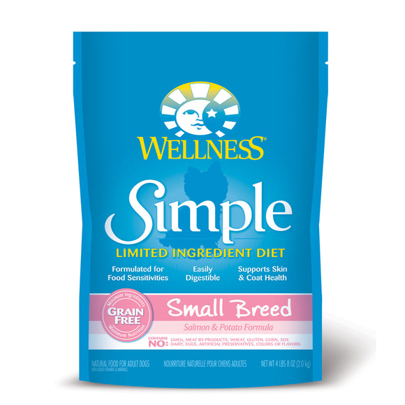[WN-SimSBSal4] Wellness Simple Limited Ingredient Small Breed Salmon & Potato (Grain Free) Dry Food for Dogs (4lb)