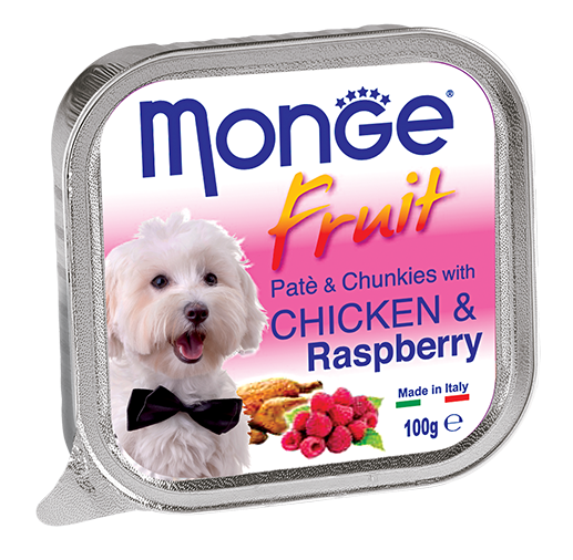 Monge Chicken & Raspberry Pate with Chunkles Tray Dog Food (100g)