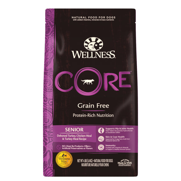 Wellness Core Grain Free Senior (Deboned Turkey, Chicken Meal & Turkey Meal) Dry Food for Dogs (3 sizes)