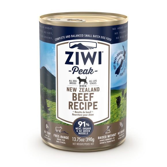 ZIWI® Peak Wet Canned Food Beef Recipe for Dogs (390g)