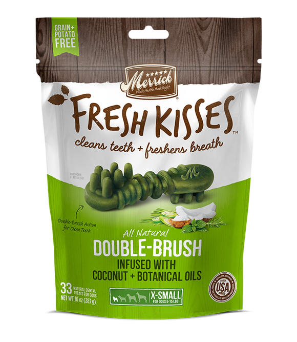 [MR-66020] [30% OFF] Merrick Fresh Kisses infused with Coconut + Botanical Oils Breath Strips (XS Dog, 5-15lbs) (20pcs/pkt)