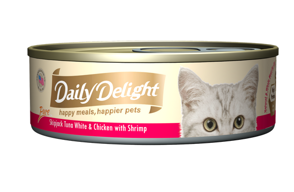 [1carton=24cans] Daily Delight Skipjack Tuna White & Chicken with Shrimp (80g)