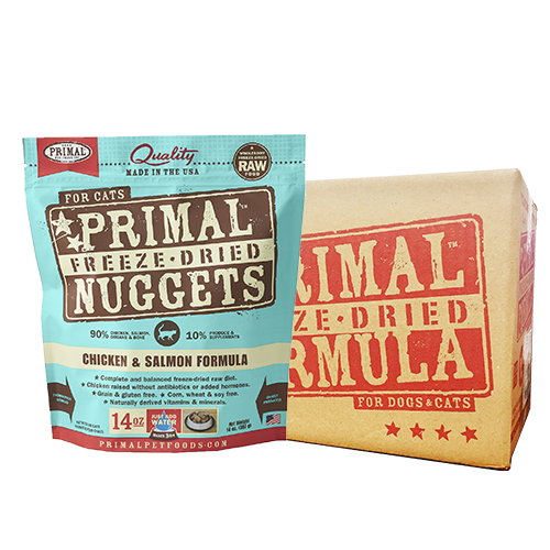 [1carton] Primal Freeze Dried Feline Chicken & Salmon Nuggets for Cats (14oz x 4packs)