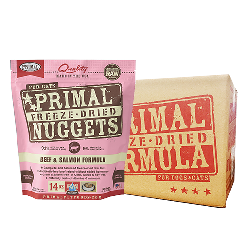 [1carton] Primal Freeze Dried Feline Beef & Salmon Nuggets for Cats (14oz x 4packs)